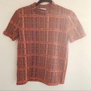 Zara Top High neck plaid sweater shirt shortsleeve